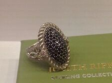 Judith RIPKA 1.40 ct Oval Pave Black Spinel DIAMONIQUE Cocktail Ring Sz 6