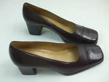 Enzo Angiolini Album Brown Leather Croc Print Square Toes Shoes Pumps Heels 7 M