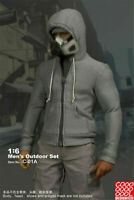 1/6th Male Zipper Hooded Sweater Gray Top Clothes Props For 12'' TBL Figure Body