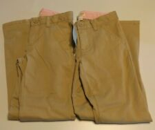 Sz 8 Lot of 2 Cat & Jack Girls' Twill Stretch Uniform Chino Pants, Khaki, Nwt