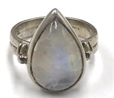 Vintage Oxidized Sterling Silver 925 Pear Moonstone Dotted Cocktail Band Ring