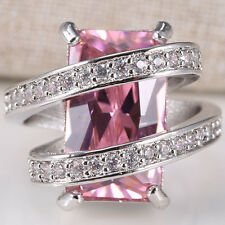 Huge 5.5CT Pink Sapphire Women 925 Silver Wedding Jewelry Ring Size 6-10