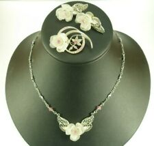 1928 Jewelry Company Necklace Set, Frosted Rose Silver Filigree Pink Crystals