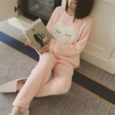 Women Cute Coral Velvet Pajamas Set Soft Lint Nightgown Warm Loose Sleepwear 3c Pink