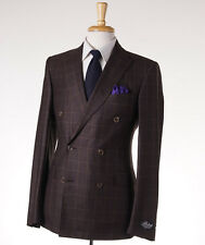 NWT $4495 BELVEST Chocolate Brown Check Super 160s Wool Suit Slim 38 R (Eu 48)