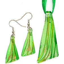 Silver Green Triangle Lampwork Glass Murano Bead Pendant Necklace Earrings Set