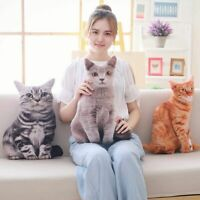 20'' 3D Simulation Cat Pillow Animal Doll Cushion Cover Stuffed Plush Toy Decor