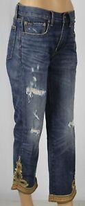 Ralph Lauren Waverly Straight Crop Distressed Blue Denim Jeans NWT $298