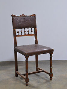 1106008 : Set of 8 Antique French Renaissance Side Chairs w/ Embossed Leather