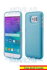 Funda carcasa gel / TPU Samsung Galaxy S6 tipo piel acolchada azul