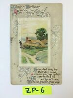 A Loving Birthday Greeting Beautiful Town Embossed OLD Vintage Postcard ZP-6