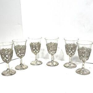 Vintage RAIMOND Japan Silver plated Shot Glasses Stemmed Goblets Set of 6