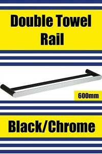 Brand New- BLACK/CHROME-Double Towel Rail 600mm (SLEEK Range) Free Post Aus Wide