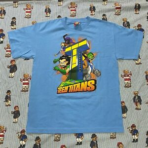 Vintage Teen Titans Graphic T Shirt Cartoon Network Promo Blue Anime Youth XL