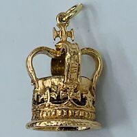 Vintage 9ct Yellow Gold Coronation Crown Charm 5.4g # 833