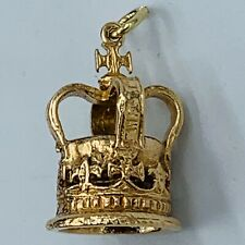 Vintage 9ct Yellow Gold Coronation Crown Charm 5.4g # 833