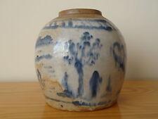 C.17th - Cinese Antico Vintage Stoneware Blu & Bianco Ming ginger jar Pot