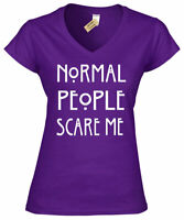 Normal People Scare Me Womens  V-Neck T Shirt funny goth ladies rock emo top