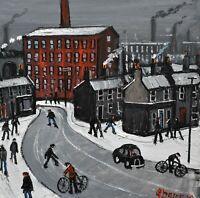 Superb James Downie Original Oil Painting - Northern Town Scene (British Art)
