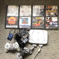 Sony Ps1 Slim Console Bundle 8 Games 2 Controllers Cables And Memory Card Perfec