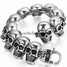 "Gothic Punk Large Stainless Steel Skull Heads Link 9"" Chunky Bracelet for Men"