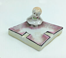 Vintage Ashtray Japan 1950's Young Ballerina Tutu Pink White Diamond Shape 5""