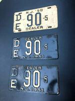 1951 NJ DEALER  LICENSE PLATE PAIR DE90-5 AND 1950 DE90-5