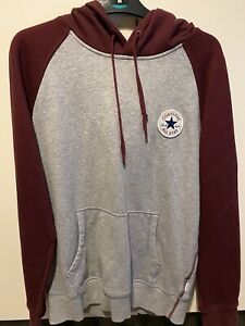 Converse Tracksuit Burgundy Grey Small Mens Joggers Hoodie