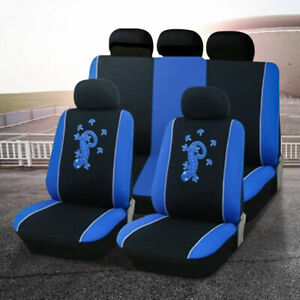 9pc Universal Car Seat Cover Set Protectors Washable Dog Pet Front Rear Blue Pad