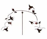 GARDEN DECOR - HUMMINGBIRDS & FUCHSIA KINETIC GARDEN SCULPTURE OR HANGING MOBILE