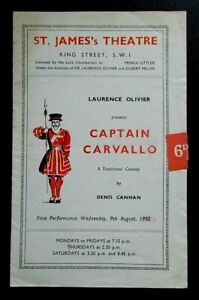 Captain Carvallo programme St James's Theatre 1950 Peter Finch Diana Wynyard st