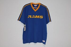 MITCHELL & NESS NFL LOS ANGELES RAMS OVERTIME WIN V-NECK T-SHIRT SIZE XL NEW