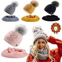 Set Scarf & Hat Mohair Wool Women Winter Knitted Beanie Hat Worm Neck Fleece Pom