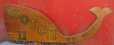 Antique Ct Scotch Whale Sea Ship Yacht Club Wood Plaque Bar Wine Fish Art Sign
