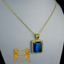 Sterling Silver Lab Diamonds Mistic Blue Charm Pendant & 24 inch Moon Cut Set