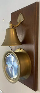 Vtg Large Brass Accuracy Ship's Time Clock Mounted Brass Bell Maritime Nautical