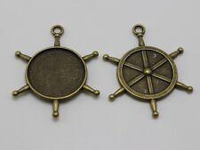 10 Antique Bronze Boat Wheel Pendant Cameo Cabochon Setting Blank Inner:25mm