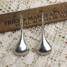 Vintage Sterling Silver Modernist Teardrop Earrings 925 Long Threader Minimalist