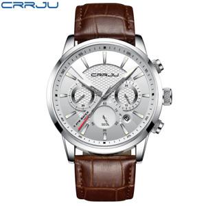 CRRJU New Fashion Men Watches Analog Quartz Wristwatches 30M Waterproof Chronogr