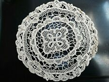 """Handmade 1 Vintage Beige Cotton Crochet table cloth cover 9"""" Round Lace Doily"""