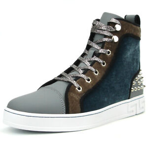 FI-2348 Grey High top Sneaker Gold Spikes  Encore by Fiesso