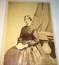 Antique Early Civil War American Fashion Woman, Open Book! Boston, MA CDV Photo!