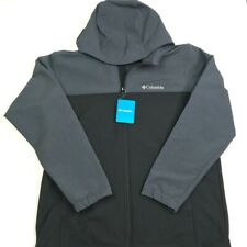 Columbia Sportswear Mens Barr Lake Hooded SoftShell Jacket Black Stretch L New
