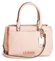 NWT GUESS NATHALIE HANDBAG Lge Pink Logo Satchel Crossbody Shoulder Bag GENUINE