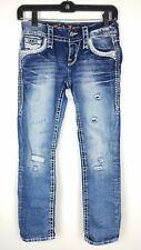 NEW Rock Revival Women's Hettie Crop Embellished Faded Wash Blue Jeans Size 23