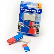 3er-Set Radiergummi / Radierer verschiedene Größen