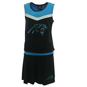Carolina Panthers NFL Youth Kids Girls 2 Piece Cheerleader Outfit with Skirt Set
