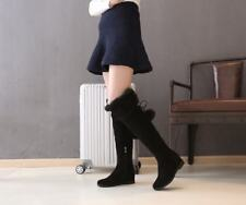 Winter Womens Faux Suede Fur Lined Warm Flats Over the Knee Boots Warm New Shoes