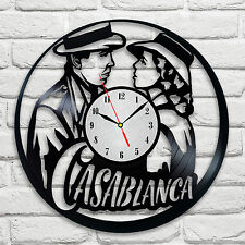 Casablanca design vinyl record clock home decor art club playroom hobby office
