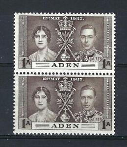Aden 1937 Sc#13 Queen Elizabeth & George Coronation British colony pair MNH